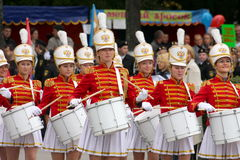 A group of young girls majorettes drummers Royalty Free Stock Image