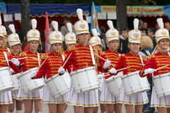 A group of young girls majorettes drummers Stock Images