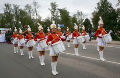 A group of young girls majorettes drummers Royalty Free Stock Photo