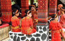 Group of young girls in traditional clothes at funeral ceremony. Tana Toraja Stock Photography