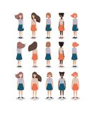 Group of young girls. Vector illustration design royalty free illustration