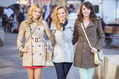 Group of young glad girlfriends Royalty Free Stock Photography