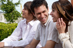 Group of young guys and girl Stock Photos