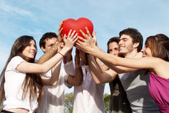 Group of young guys and girls Stock Photos
