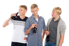 Group of young guys talking Royalty Free Stock Photography