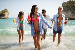 Group of happy friends on vacation having fun on beach in summer royalty free stock image