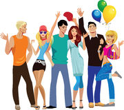 Group of young happy people, hands up stock illustration