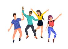 A Group Of Young Happy People Jumping royalty free illustration