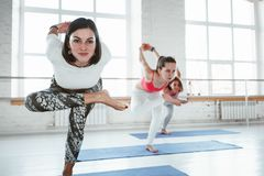 Group of young happy woman practice yoga poses indoor class. Group training royalty free stock image
