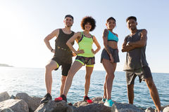 Group of young healthy cinfident sports people Royalty Free Stock Photo
