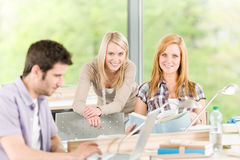 Group of young high school students learning Stock Image