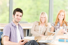 Group of young high school students learning Stock Images
