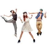 Group of young hip hop dancers on white background Royalty Free Stock Image