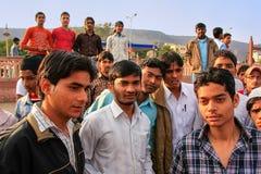 Group of young Indian men standing near Man Sagar Lake in Jaipur Stock Images