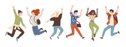 Group of young joyful laughing people jumping with raised hands isolated on white background. Happy positive young men. And women rejoicing together. Colored royalty free illustration