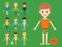 Group of young kid portrait friendship man character vector illustration