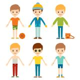 Group of young kid portrait friendship man character team  Royalty Free Stock Photography