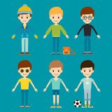 Group of young kid portrait friendship man character team happy people boy person vector illustration. Royalty Free Stock Images