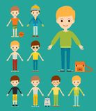 Group of young kid portrait friendship man character team stock illustration
