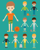 Group of young kid portrait friendship man character team happy people boy person vector illustration. Stock Photo