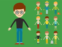 Group of young kid portrait friendship man character team happy people boy person vector illustration. Royalty Free Stock Photography