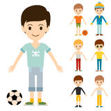 Group of young kid portrait friendship man character team happy people boy person vector illustration. Stock Photos