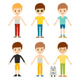 Group of young kid portrait friendship man character team happy people boy person vector illustration. Royalty Free Stock Photo