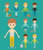Group of young kid portrait friendship man character team happy people boy person vector illustration. Stock Images
