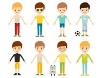 Group of young kid portrait friendship man character team happy people royalty free illustration