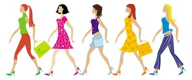 Group of young ladies. Group of five young ladies Vector Illustration