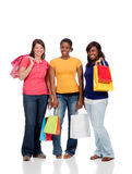 Group of Young Ladies with Shopping bags on white Stock Photos