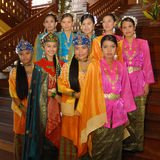 Group of young malay dancers Stock Photos