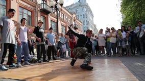 Young break dance dancers performing street