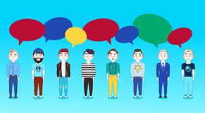 Group Of Young Man With Chat Bubbles On Blue Backgroud Social Media Communication Concept. Flat Vector Illustration stock illustration