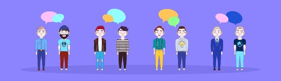 Group Of Young Man With Chat Bubbles Social Media Communication Concept Horizontal Banner. Flat Vector Illustration Stock Images