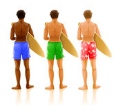 Group of young men with boards for surfing Royalty Free Stock Photo