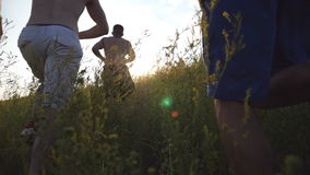 Group of young men running up the green hill over blue sky with sun flare at background. Male athletes is jogging in. Nature at sunset. Sport runners going stock video footage