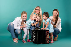 Group of young moms with children Royalty Free Stock Image