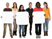 Group of young multi ethnic people holding copyspace for three l Stock Photos