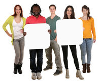 Group of young multi ethnic people holding copyspace for two let Royalty Free Stock Photo