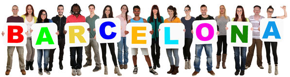 Group of young multi ethnic people holding word Barcelona Stock Image