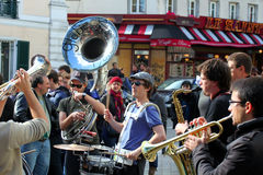 Group of young musicians in Paris Royalty Free Stock Image