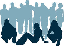 Group of young people. Silhouettes of a group of young people Stock Images