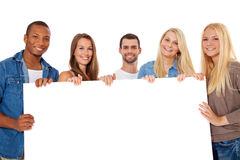 Group of young people around placeholder. Group of young people standing around placeholder. All on white background Stock Images