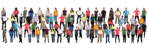 Group of young people background crowd in a row multicultural mu. Lti ethnic persons Royalty Free Stock Photo