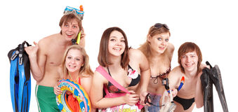 Group of young people in bikini. Royalty Free Stock Images