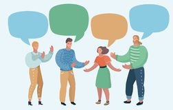 Group of people with blank speech bubbles Stock Photography