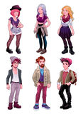 Group of young people, both males and females. Fashion cartoon vector  characters Stock Image