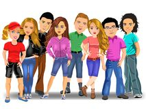 Group of young people, boys and girls Royalty Free Stock Image