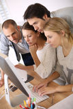 Group of young people in business straining Stock Photo